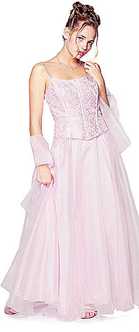 A-Line Spaghetti and Lace Formal Prom Dress. 12981.