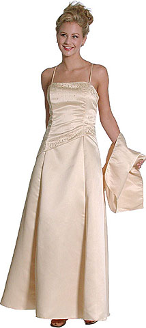Rhinestones and Beads Long Bridesmaid Dress. 13330.