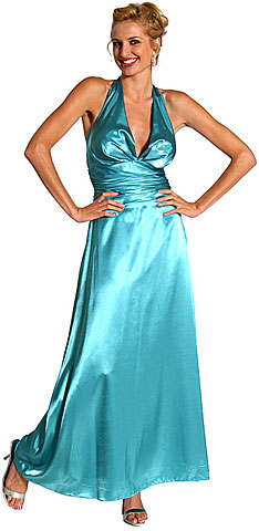 Halter Neck Polysatin Long Formal Dress. 13730.