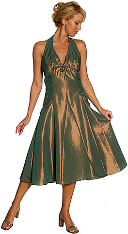 Halter Neck Taffeta Tea Length Party Dress. 13773.