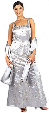 Beaded Formal Silver Prom Dress with Floral Accent. 15111.