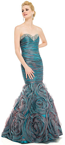 Two Tone Mermaid Style Shirred Strapless Prom Dress