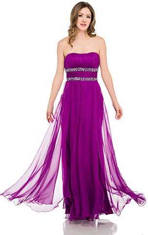 Strapless Long Formal Prom Dress with Beaded Waist. 16047.