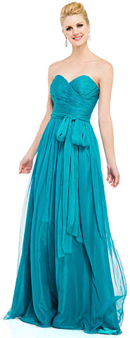 Strapless Sweetheart Neck Chiffon Long Formal Prom Dress . 16075.