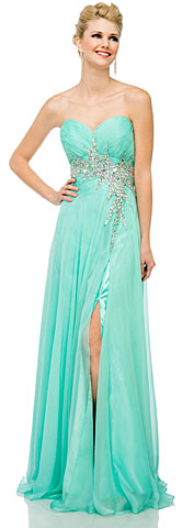 Sweetheart Neck Strapless Long Formal Prom Dress . 16103.