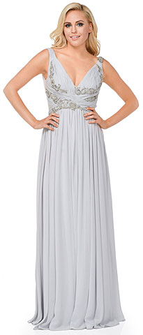 Deep V-Neck Ruched Floor Length Formal Prom Dress. 16111.