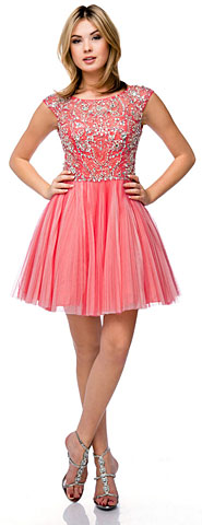 Bejeweled Short Party Prom Dress with Mesh Skirt. 16113.