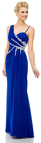 Pleated Long Prom Dress with Jewels & Matching Bolero Jacket. 16114.