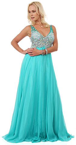 V-Neck Bejeweled Mesh Top Floor Length Prom Dress. 16116.