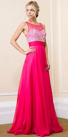 Jeweled Mesh Top Floor Length Formal Prom Dress. 16125.