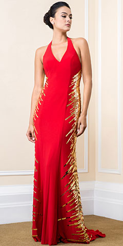 Halter Neck Sequined Sides Long Plus Size Prom Dress. 16126.