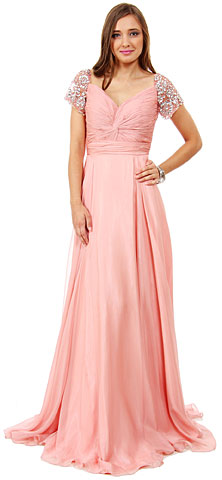 Short Sleeves Twist Front Floor Length Formal Dress. 16127.