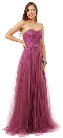 Strapless Sweetheart Neck Mesh Long Formal Dress. 16128.