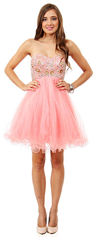 Strapless Beaded Bust Mesh Short Prom Dress. 16300.