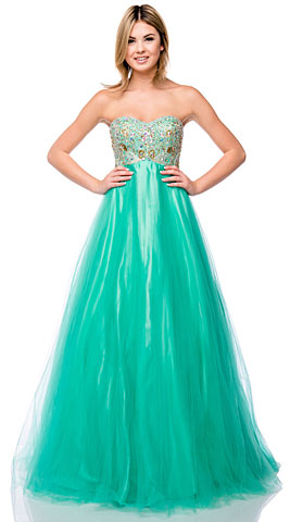 Strapless Sweetheart Neck Mesh Long Plus Size Prom Dress. 16301.