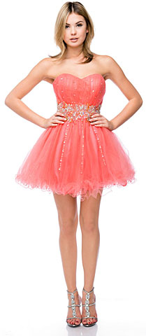 Strapless Beaded Waist Short Tulle Party Prom Dress. 16302.