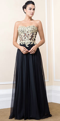 Strapless Floral Accent Bodice Long Formal Prom Dress. 16407.