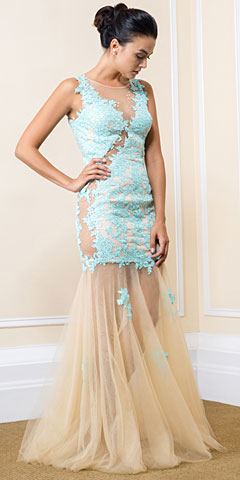 Exquisite Floral Lace Tulle Skirt Long Prom Pageant Dress. 16410.