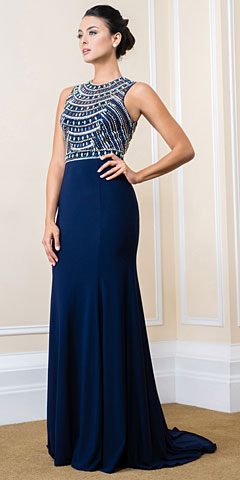 Bejeweled Bust Keyhole Back Long Formal Prom Dress. 16500.