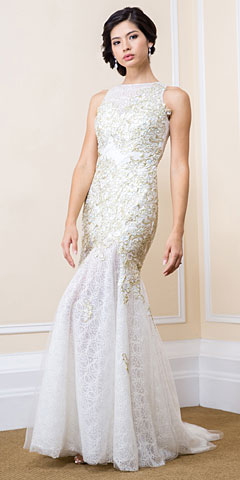Romantic Floral Beaded Lace Long Prom Dress with Mesh Skirt. 16501.