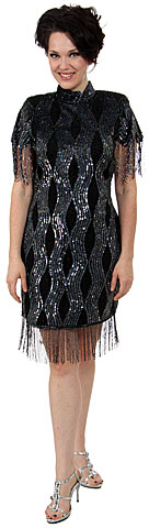 Turtle Neck Vintage Fully Beaded Short Dress with Fringes