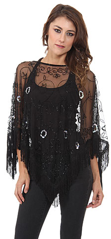 Boat Neck Mesh Beaded Poncho with Fringes
