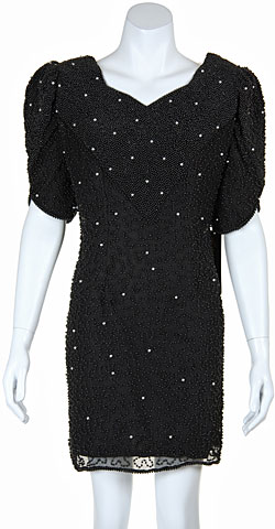 V-neck Vintage Style Mini Sequin Formal Dress With Pearls. 2026.