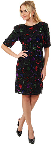Colorful Beading Formal Party Dress with Keyhole Back. 2161.