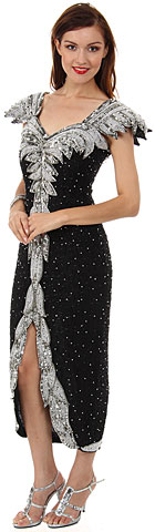Tea Length Formal Cocktail Beaded Dress with Cap Sleeves. 2173.