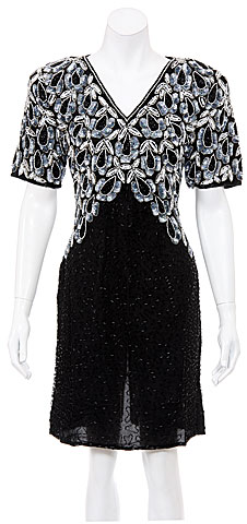 Night Sheels Hand Beaded Short Dress. 2397.