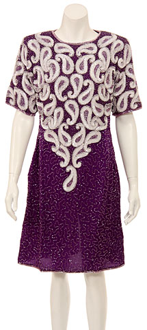 Short Sleeved Sequin Beaded Cocktail Dress. 2403.