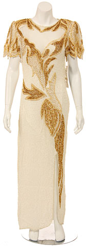 Half Sleeves Sequined Long Sequin Evening Gown with Front Slit. 2420.