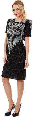 Artistic Beaded Bodice Short Formal Sequined Dress. 2490.