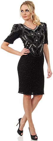 V-Neck Floral Bodice Half Sleeves Formal Sequined Dress. 2508.