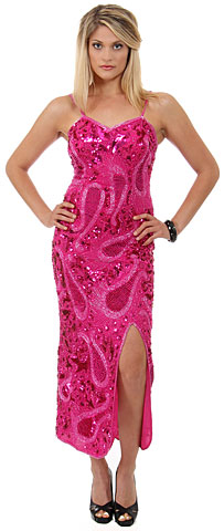 Spaghetti Straps Long Sequined Formal Dress. 2525.