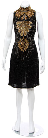 Turtleneck Sleeveless Short Dress with Sequined Bodice. 2537.