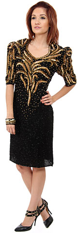 Sequined Tea Length Sequin Formal Dress. 2556.