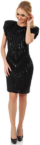 Wide Shoulders Sequined Short Formal Sequin Formal Dress.. 2628.