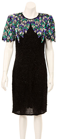 Keyhole Back Knee Length Sequined Formal Sequin Formal Dress. 2669.