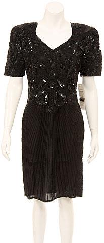 Short Sleeve V-Neck Sequin Formal Dress. 2725.