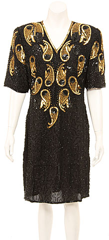 V-Neck Fully Sequined Cocktail Dress