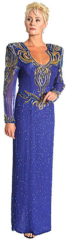 Keyholed Back Full Sleeve Long Gown. 2753.