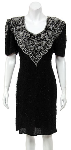 Half Sleeve Fully Beaded Sequined Formal Dress.