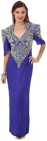 V-Neck Half Sleeves Long Formal Beaded Gown . 2832.
