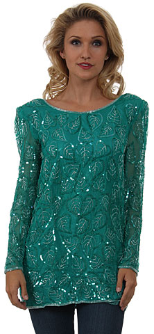 Round Neck Leaves Sequined Pattern Long Blouse