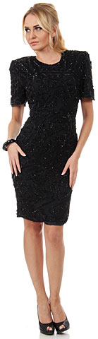 Artistic Leaves Pattern Sequined Short Dress with Keyhole . 2902.