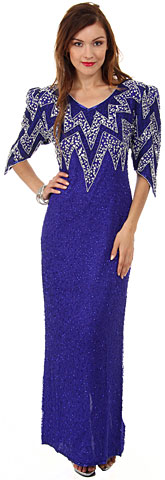 Long Formal Beaded Gown with Zig-Zag Pattern on Bodice