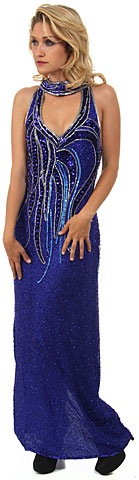 Deep V-Neck Halter Long Beaded Formal Dress with Collar. 2916.