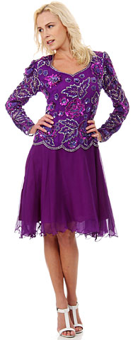 Full Sleeves Knee Length Beaded Bodice Sequin Formal Dress. 2922.