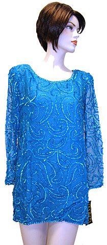 Full Sleeves Sequined Silk Chiffon Blouse